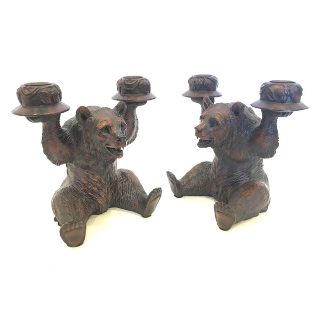 Grizzly Bear Candlestick Holders - A Pair - Image 1 of 4