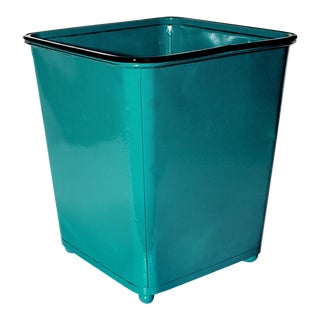 1930s Machine Age Teal Steel Trash Can