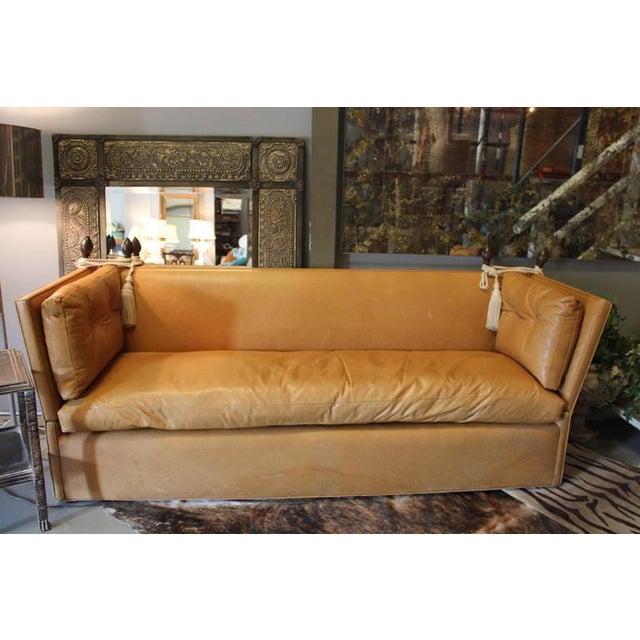 High Back White Leather Sofa: Knole Style Cognac Leather High Back Sofa