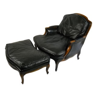 Louis XV Style Leather Bergere & Ottoman