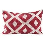 Image of Red Silk Velvet Ikat Pillow