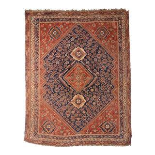 """Antique Persian Qashqai Rug - 5'4"""" x 6'7"""""""