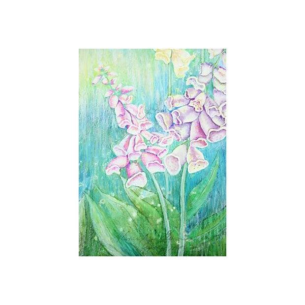 Vintage Pastel Drawing - Foxgloves - Image 3 of 5