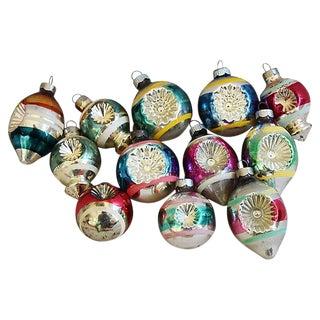 1960s Retro Christmas Ornaments w/Box - Set of 12