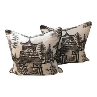 Contemporary Chinoiserie Schumacher Nanjing Pillows - A Pair
