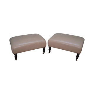 Leather Ottomans With Turned Legs & Castors