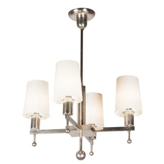 Four Arm Nickeled Bronze Chandelier, French 1940s