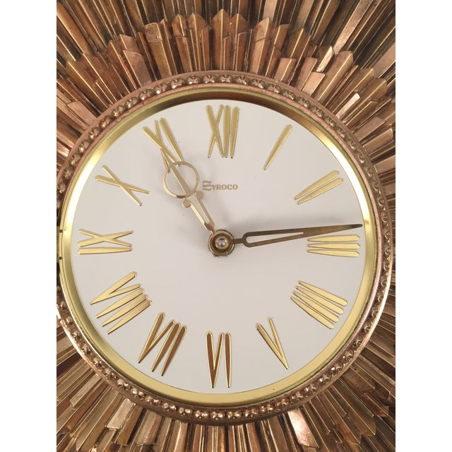 Mid-Century Syroco Sunburst Wall Clock - Image 8 of 11