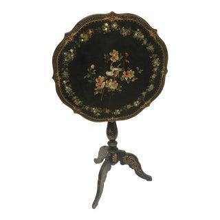 Antique English Paper Mache Tilt Top Table