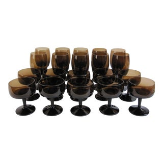 Vintage Smoked Brown Coupes & Goblets - Set of 21