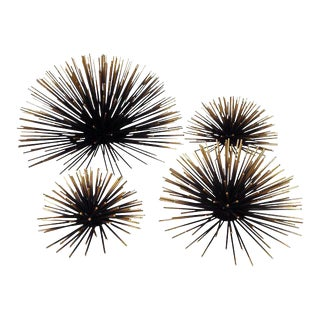 Gold & Black Metal Wall Sea Urchins - Set of 4