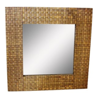 Stylish Large Mid-Century Bamboo Framed Mirror