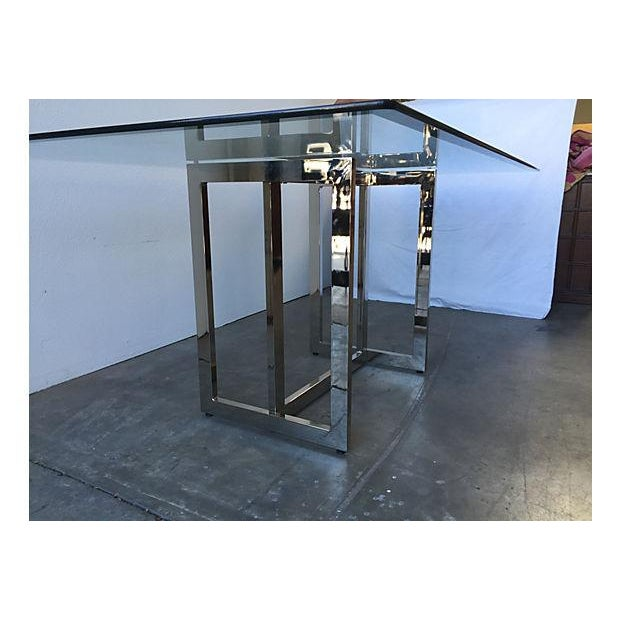 Image of Vintage 1970s Flat Bar Chrome & Glass Dining Table