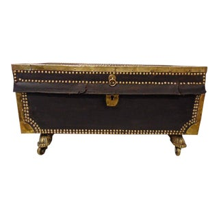 Rare Child's Camphor Wood Chest, Leather Bound and Brass Embellished