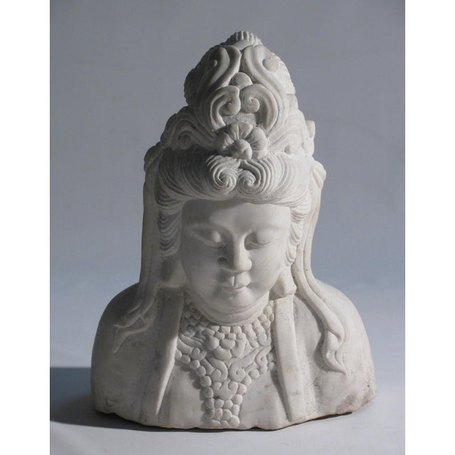 Hand Carved Solid Marble Bust of Quan Yin - Image 2 of 5