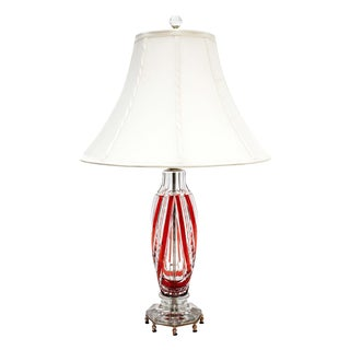 Val St. Lambert Red Cut to Clear Crystal Lamp