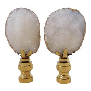 White Geode & 14kt Gold Geode Finials - A Pair