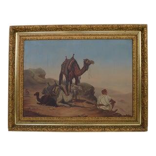 Antique Arabian Caravan Orientalist Landscape Oil Painting on Canvas With Camels by Dutch Artist N. Hals - Vintage Mid 20th Century MCM