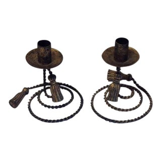 Vintage Braided Rope & Tassel Metal Candlesticks – A Pair