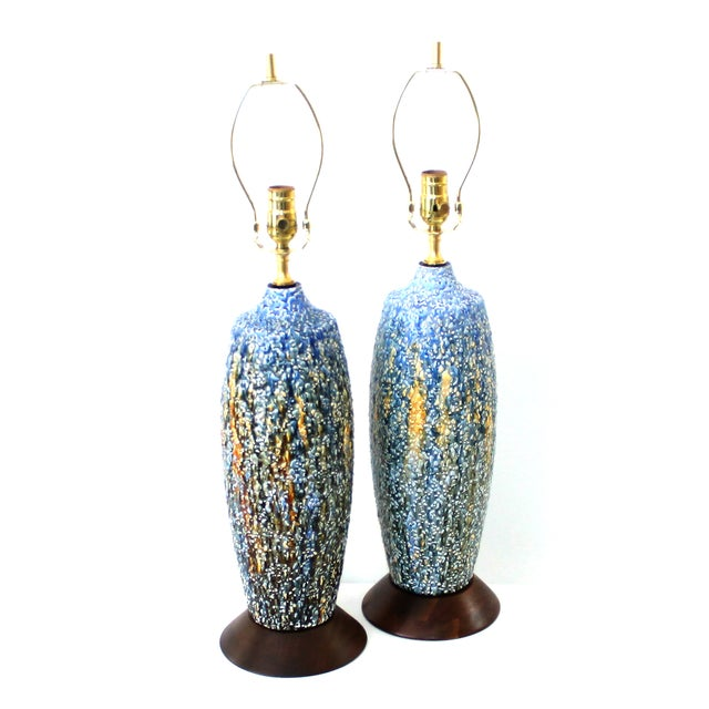 Mid-Century Modern Pottery Lamps - a Pair - Image 1 of 7