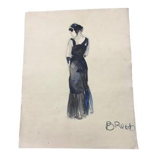 Vintage Watercolor of a Woman