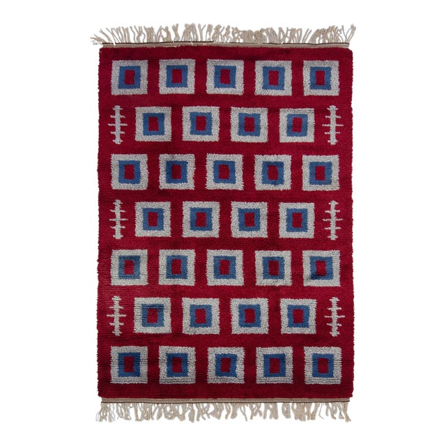 "Swedish Rya Rug - 5'4"" x 7'9"" - Image 1 of 3"