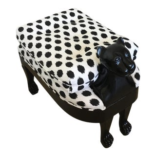 Vintage Maitland Smith Black Cat Stool