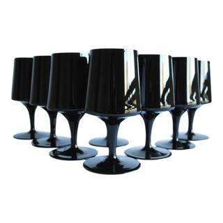 Mid-Century Black Glasses - Set of 8