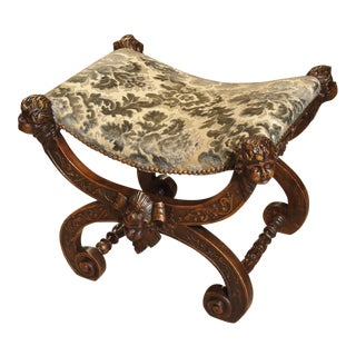 Carved Antique Walnut Wood Stool from Italy, 1800's