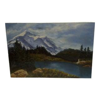 C 1960 Original Mountain Lake Painting