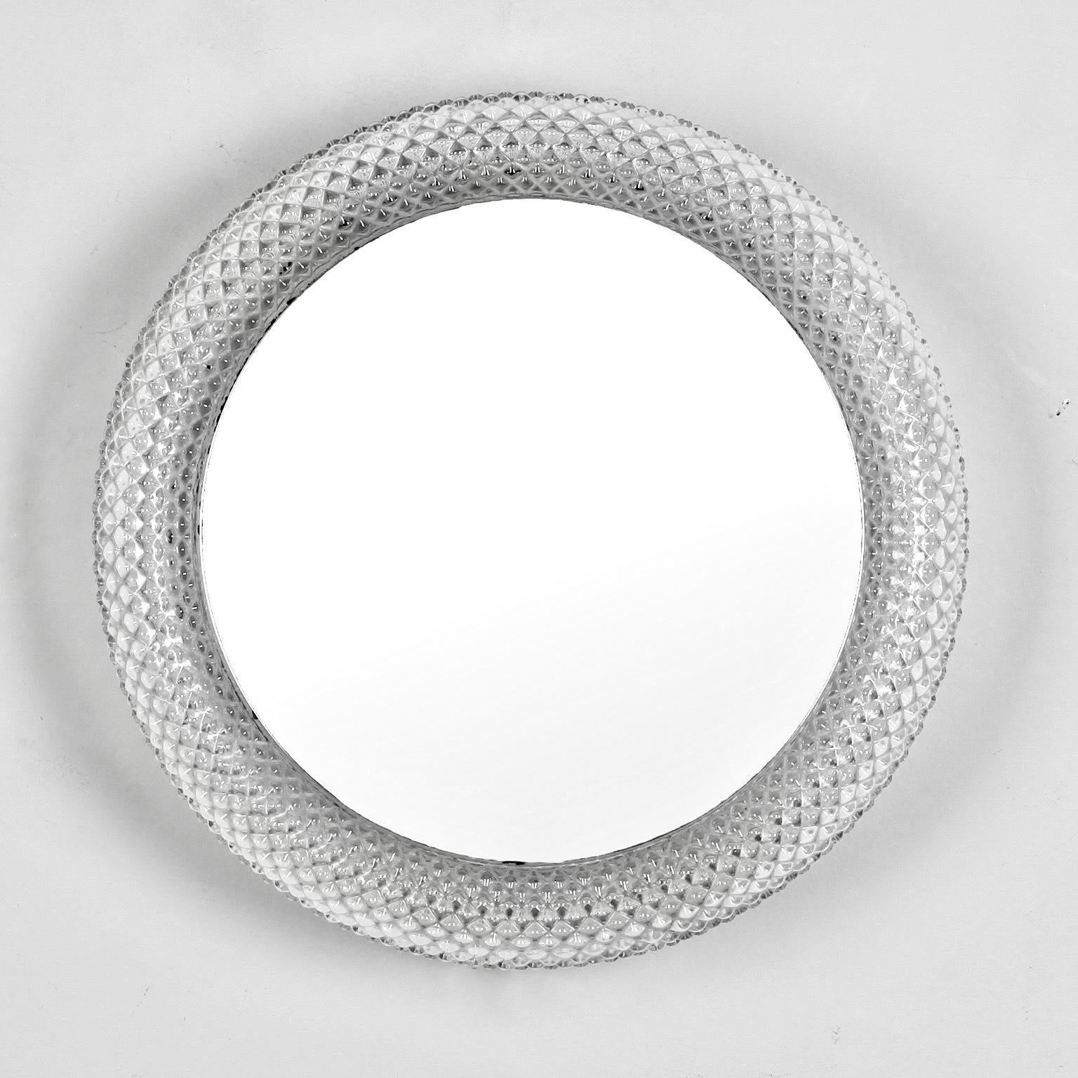 midcentury round clear acrylic frame mirror light image 3 of 5