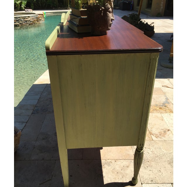 Vintage Green Milk Paint Buffet Sideboard Credenza - Image 7 of 11