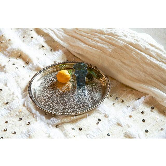 Image of Silver Moroccan Serving Tea Tray