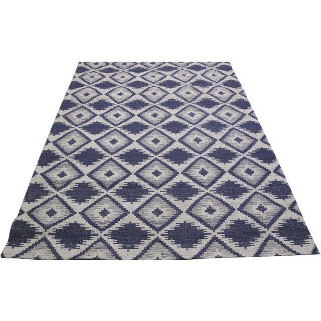 Blue/White Jacquard Indian Silk Rug - 5′1″ × 7′9″ - Image 1 of 5