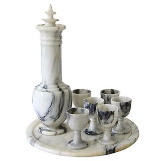 Vintage Marble Decanter Set - 8 Pcs