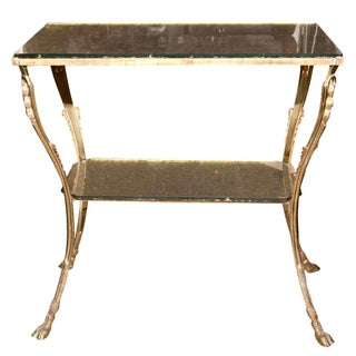 Glass Top Two-Tiered Bronze Stand Side Table