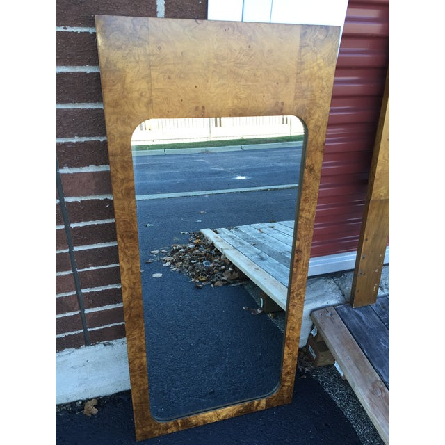 Milo Baughman for Lane Burled Olive Wood Mirror - Image 3 of 4