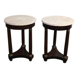 Limestone Topped Neoclassical Accent Tables - a Pair