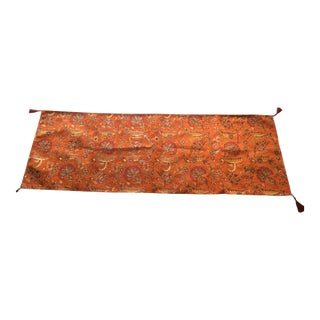 Authentic Turkish Motif Orange Velvet Table Runner