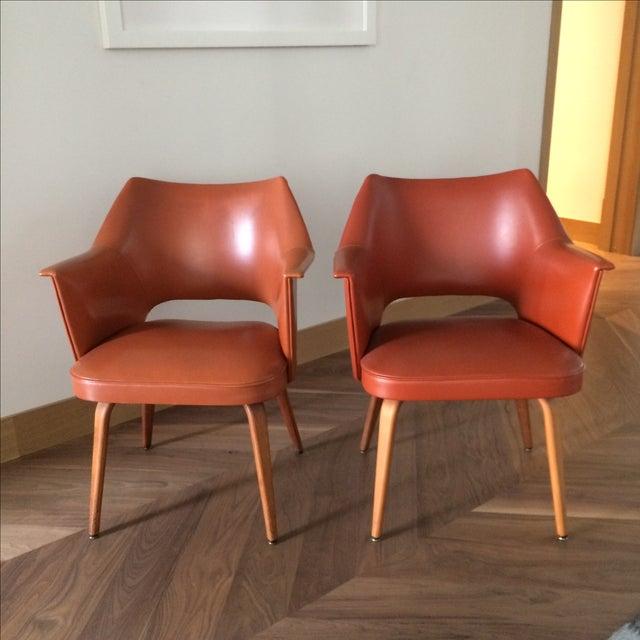 Thonet Mid-Century Burnt Orange Chairs - A Pair - Image 3 of 10