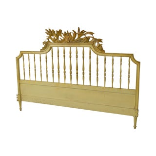 Vintage French Provincial Louis XV Style Painted King Size Headboard