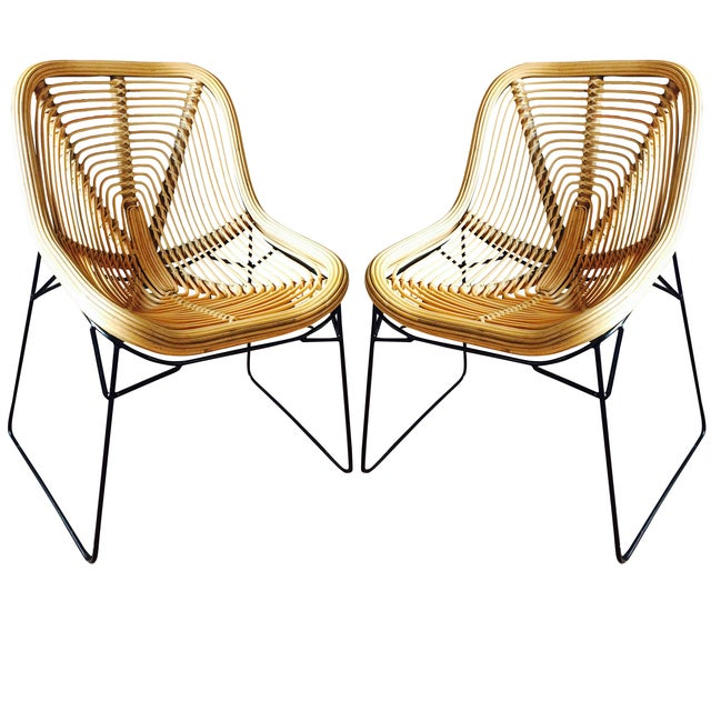 Wicker Style Lounge Chairs - A Pair - Image 1 of 5