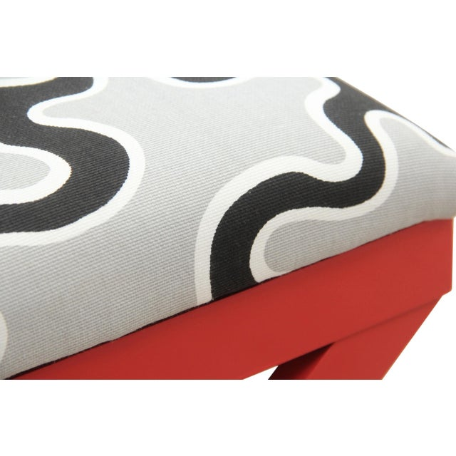 Cumulus Red Curule Bench - Image 4 of 7