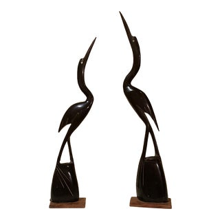 Carved Water Buffalo Horn Heron Birds