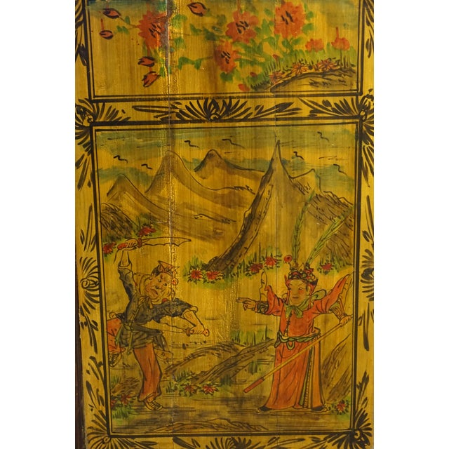Chinese Painted Wood Panel - Image 3 of 5