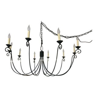 Transitional Wrought Iron 10 Candle Chandelier