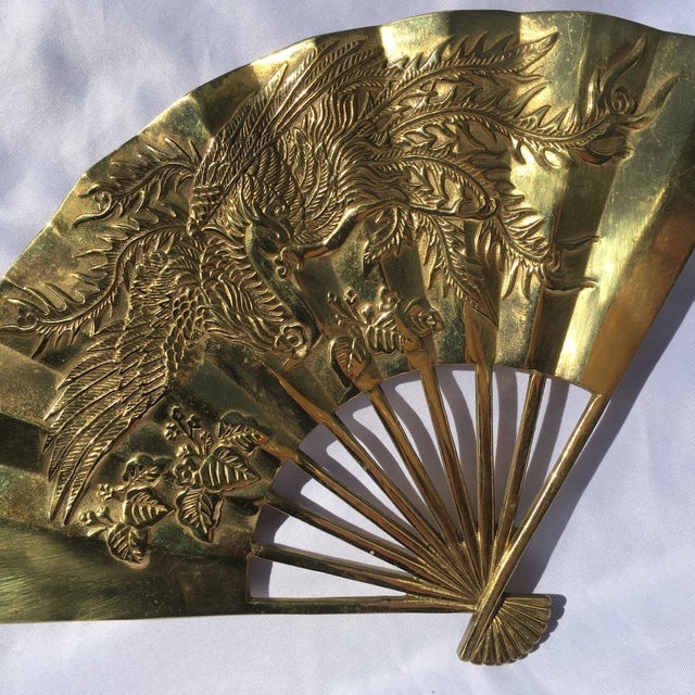 Vintage Brass Chinoiserie Wall Hanging Fan Art - Image 6 of 8