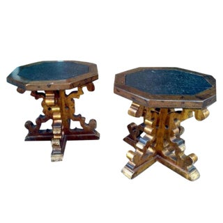 Vintage Stone Top Cocktail Tables - A Pair