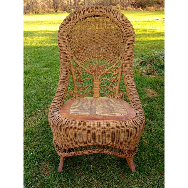 Victorian Wicker Rocking Chair Nursing Rocker in Original Condition Excellent Light Color 1800s Japanese Fanback - Image 5 of 11