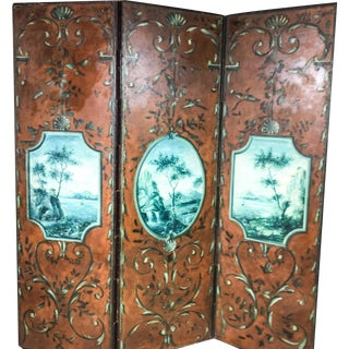 Vintage Italian Chinoiserie Leather Screen